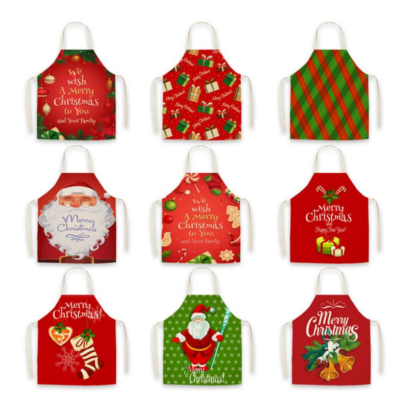 Household Christmas Holiday Kitchen Apron Christmas Festival Style Cloth Apron Fabric Linen Printed