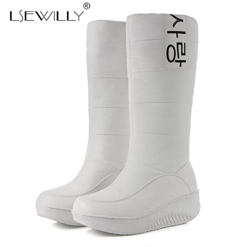 Lseilly de talla grande 35-44 nuevo Rusia mantener caliente las botas de las mujeres de plataforma gruesa de piel hasta la rodilla botas de calzado botas de nieve