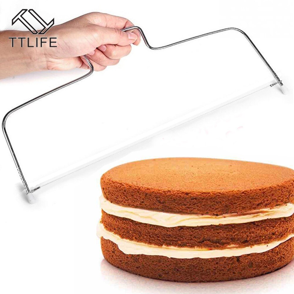 TTLIFE 1PC Stainless Steel Adjustable Wire Cake Cutter Slicer Leveler DIY Cake Baking Tools High Quality Kitchen Accessories stainless steel wire cake cutter slicer adjustable diy butter bread divider pastry cake kitchen baking tools