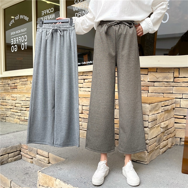 2021 New Jacquard Drape Straight-leg Pants Loose Women's Thin High-waisted Wide-leg Cropped Trousers