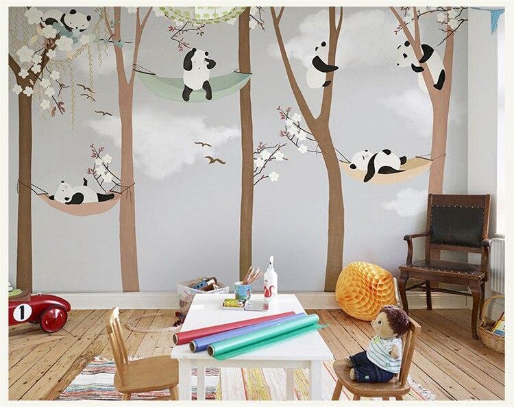 Gran Panda lindo árboles 3D dibujos animados murales papel tapiz para bebé niño habitación 3d pared foto Mural 3D papel de pared 3D pegatinas de pared