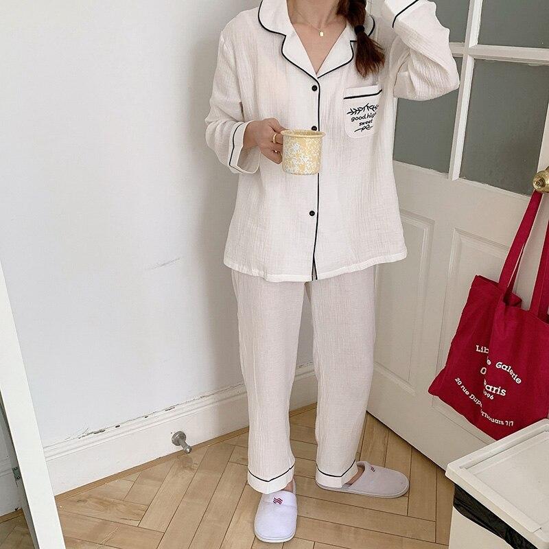 soft cotton home set women solid pants pajamas white navy lapel collar long sleeve shirts pajamas se