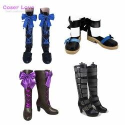 Preto mordomo ciel phantomhive elizabeth midford alois trancy coveiro sapatos cosplay botas halloween sapatos de festa de natal