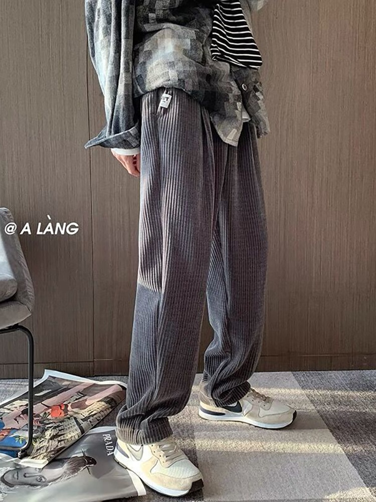 New Autumn Man Casual Straight Pants Corduroy Solid Color Trousers Man Warm Korean Streetwear Pants Classic Style