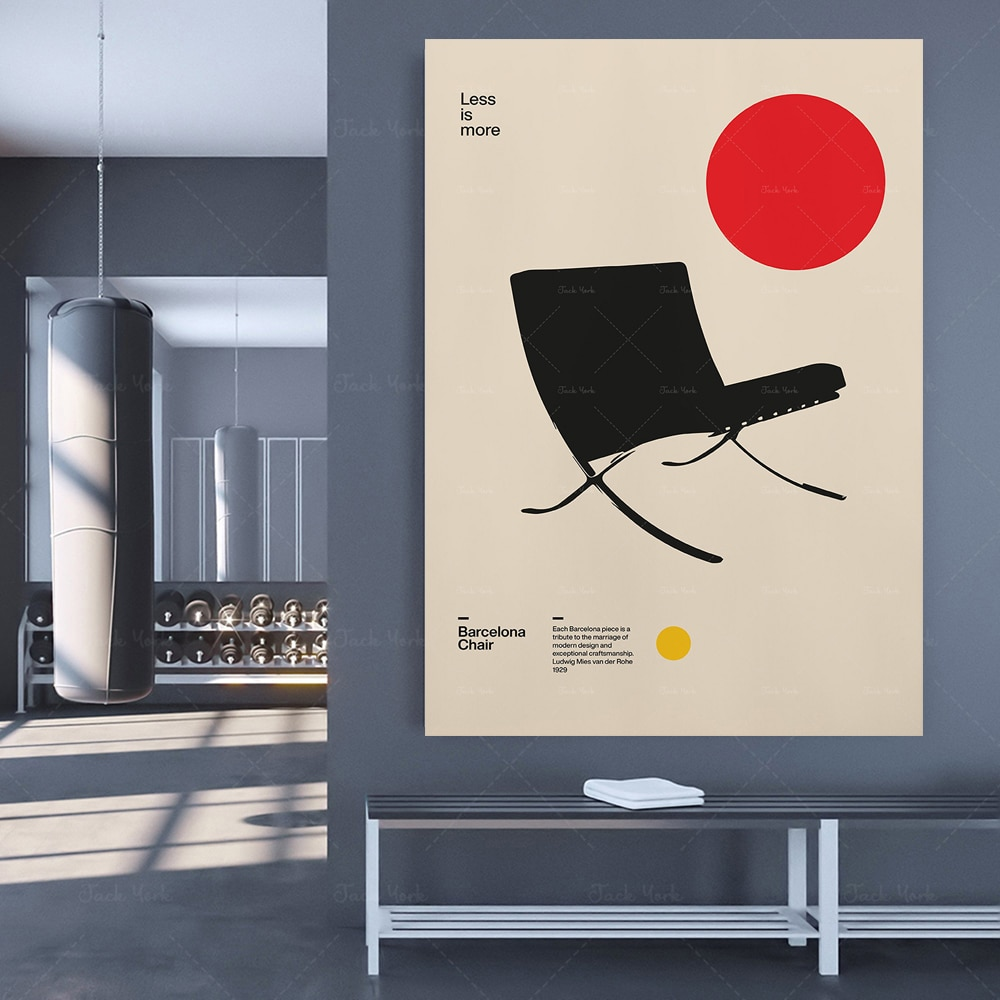 Poster Silla Barcelona Ludwig Mies van der Rohe muebles Bauhaus diseño