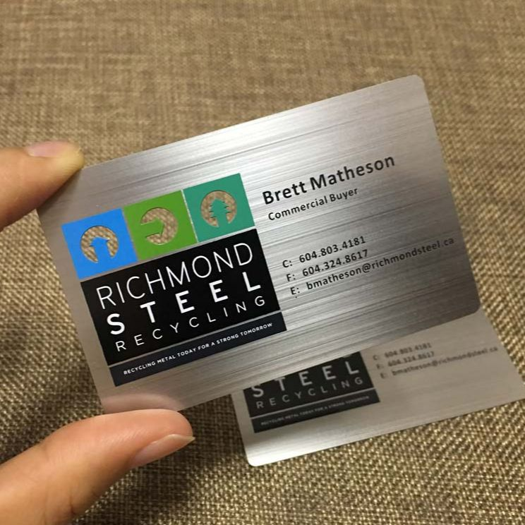Manufacturer printing popular custom engraved silver metal business card printing color