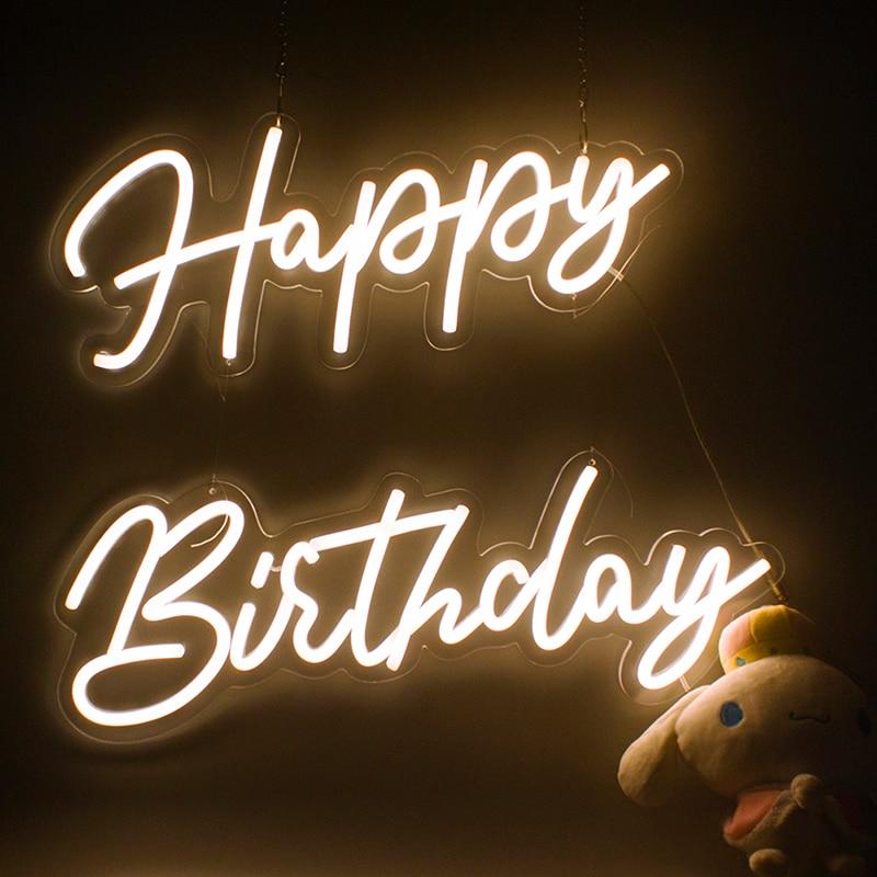 Custom Sign 56x40cm Neon Happy Birthday Led Transparent Acrylic Oh Baby Neon Sign Light Led Light Party Wedding Decoration