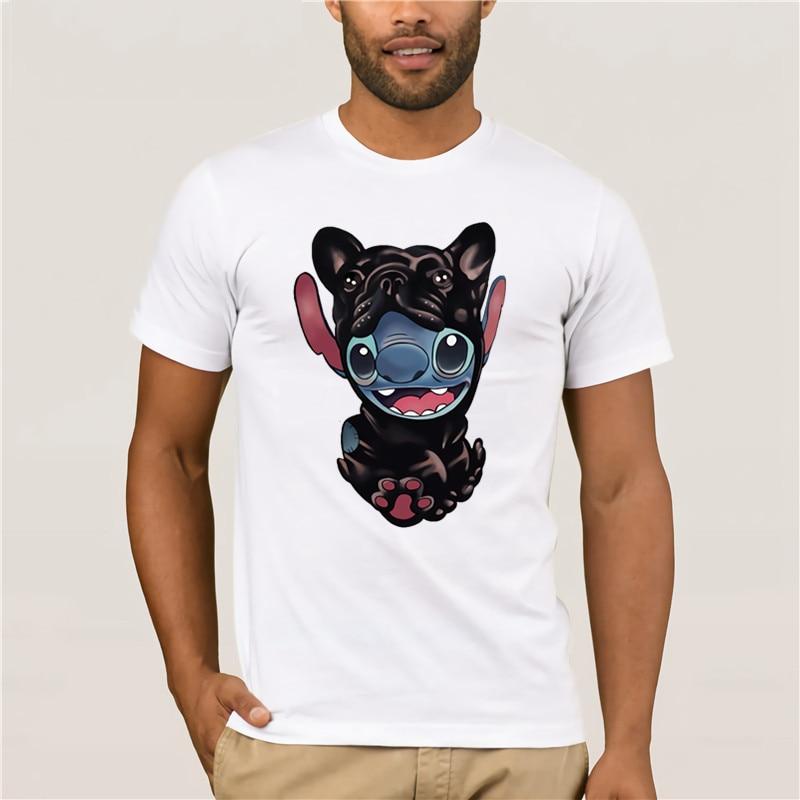 100% Cotton  2020 men shirt Frenchie and Stitch Funny Short sleeve Black fashion summer mens tshirt