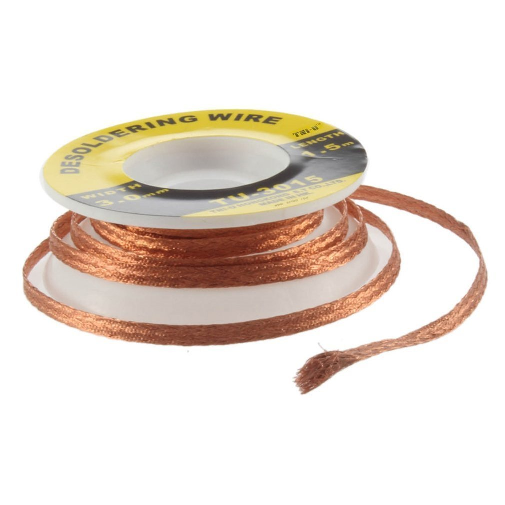 practical 2pcs lot 95cm solder wick remover desoldering braid wire sucker cable fluxed flux 3 Mm Welding 1.5M Length Wires Desoldering Braid Welding Solder Remover Wick Wire Lead Cord Flux BGA  Desoldering Braid