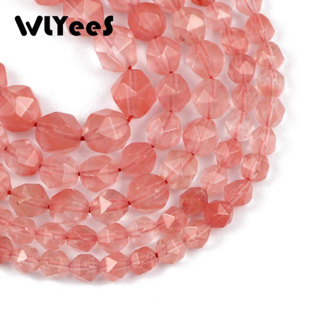 WLYeeS, cuentas redondas sueltas facetadas de piedra Natural, cereza, sandía, cuentas rojas para hacer joyería DIY, pulsera, collar de 15 6 8 10mm