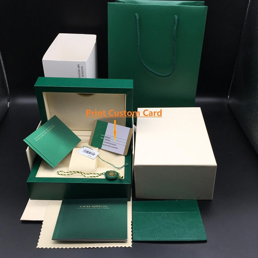 Original Matching Papers Security Card Gift Bag Top Green Box Wood Watch Boxes Booklets Watches Free Print Custom Card