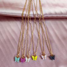 JJFOUCS Collar con colgante de mariposa coreana para mujer collares de cadena de gargantilla de oro largo Collar de mariposa declaración joyería de moda