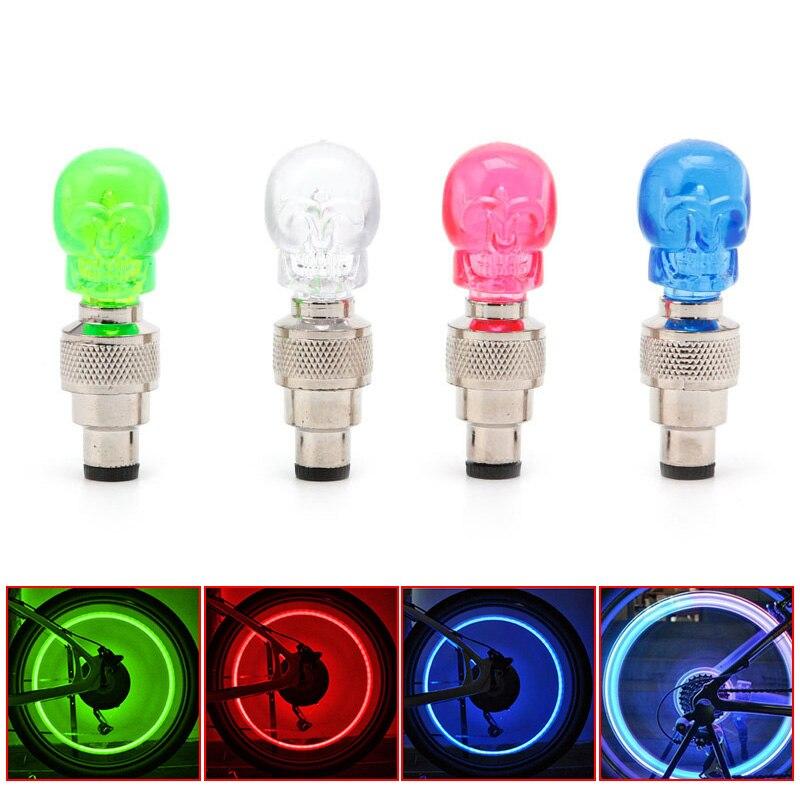 Válvula con tapa para rueda y forma de calavera con luz LED de 2 uds., lámpara de neumático para bicicleta, motocicleta, accesorios de bicicleta B2Cshop