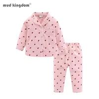 mudkingdom strawberry girls pajamas set lace collar long sleeve cotton children pjs outfit for girl sleepwear kids homewear