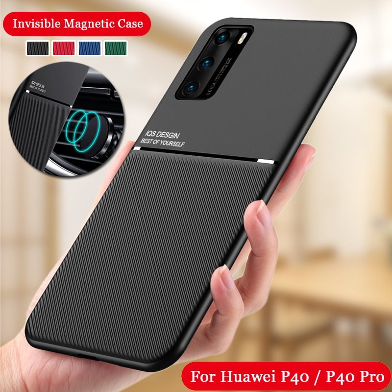 Shockproof Case for Huawei P40 Silicone Skin Back case for Huawei P40 Pro P40 Support Car Magnetic H