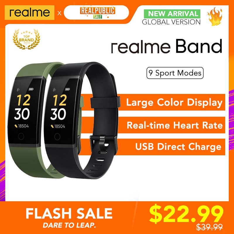 realme Band Smart Bracelet Large Color Display Heart Rate Monitor Sports Tracker 16mm Wrist Strap Notification IP68 USB Charge