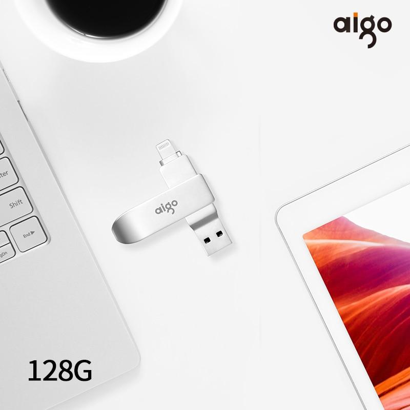Aigo de alta velocidad usb 3,0 pen drive 360 ° giratorio usb 3,0 para iphone de metal usb flash drive 128GB pendrive 3,0 chiavetta usb