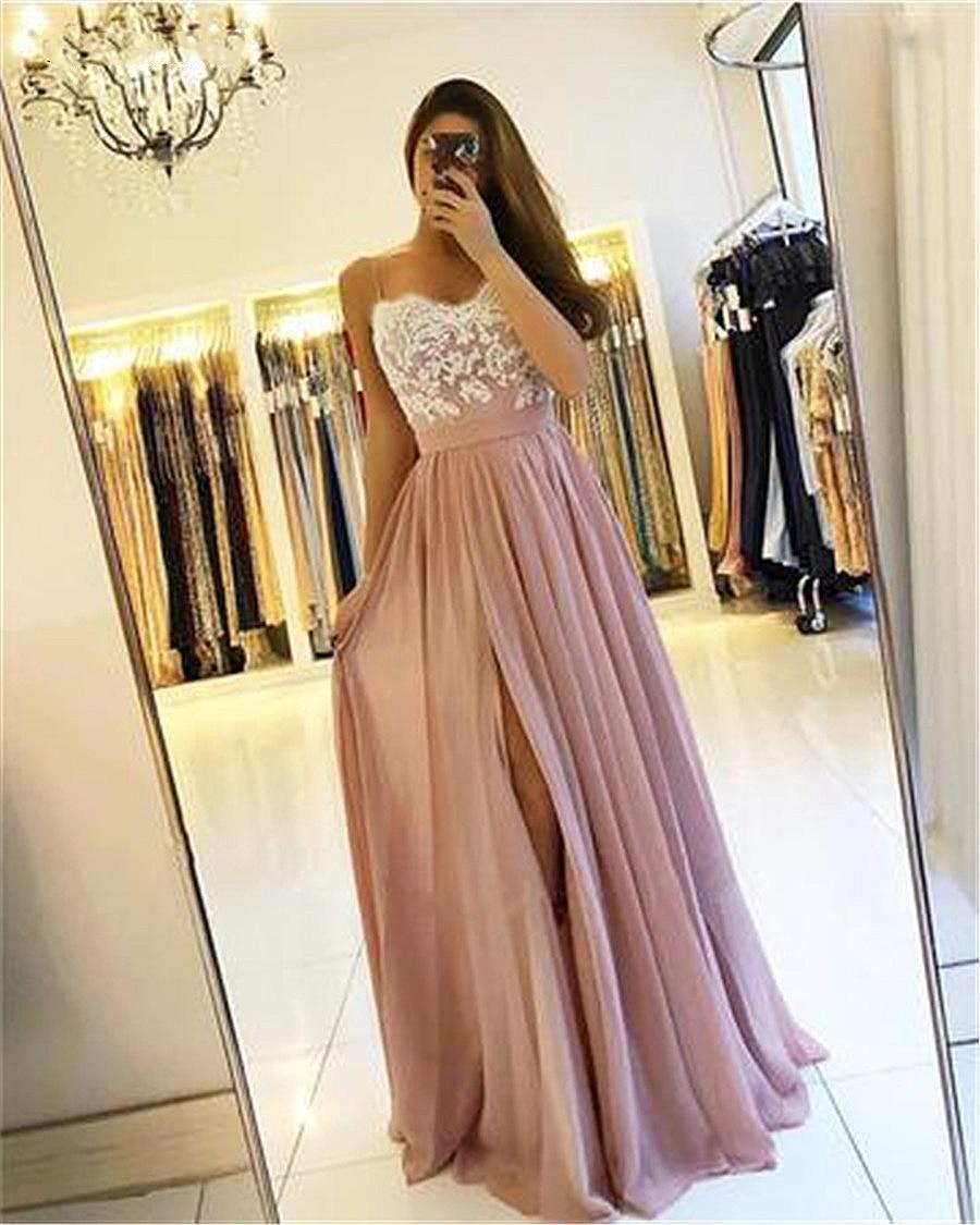 2019 Blush Pink Long Bridesmaid Dresses High Side Split Spaghetti A-Line Appliques Chiffon Wedding G