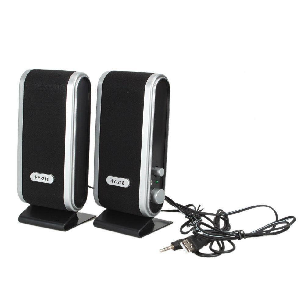 Portable 2Pcs 6W USB Power Full Range Stereo Subwoofer Computer Speakers Mini Stereo 3.5mm with Ear Jack For Desktop PC Laptop