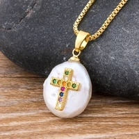 classic copper cz cross natural freshwater pearl necklace gold link chain pendant choker for women religious jewelry