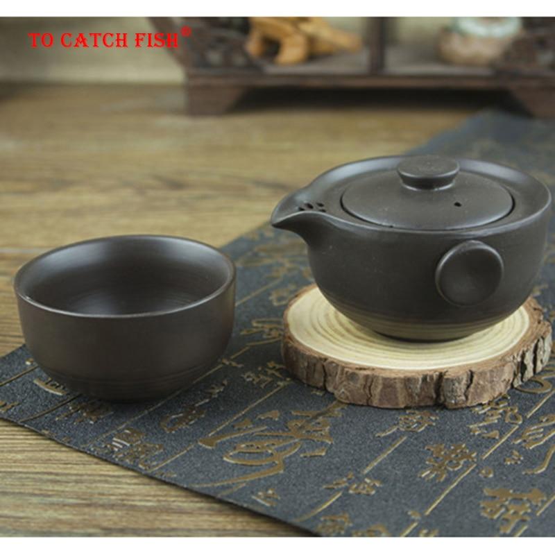 طقم شاي أسود مصنوع من السيراميك يتضمن 1 وعاء 1 كوب ، إبريق شاي للسفر أنيق gaiwan ، غلاية إبريق شاي جميلة وسهلة ، ملعقة شاي الكونغ فو
