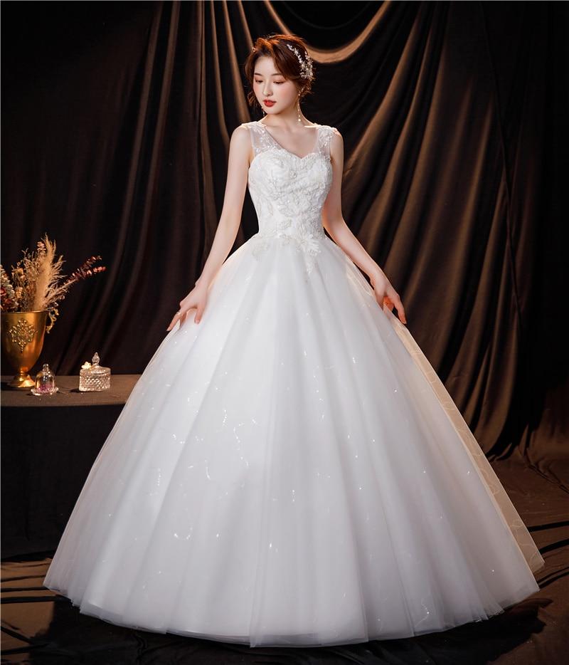 مصنع رخيصة أنيقة حجم كبير فساتين الزفاف 2021 الأميرة فستاين سهرة/فساتين الحفلات موضة كلاسيكي الخامس الرقبة الدانتيل الزفاف Vestidos Cerimonia