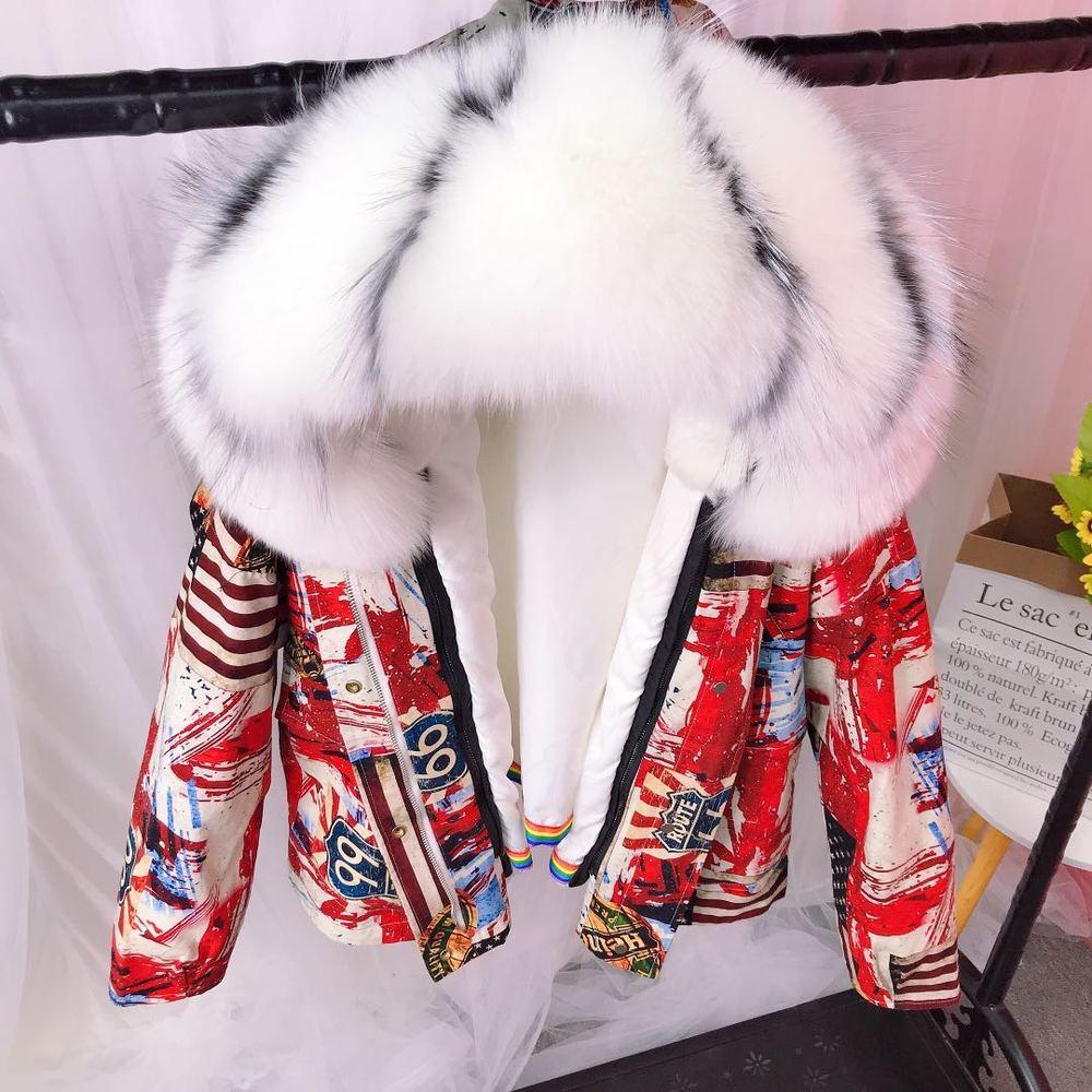 معطف نسائي من فرو الثعلب الحقيقي مع غطاء للرأس معطف مطبوع بألوان مختلفة معطف من الصوف قابل للفصل معطف سميك دافئ للشتاء كبير الحجم