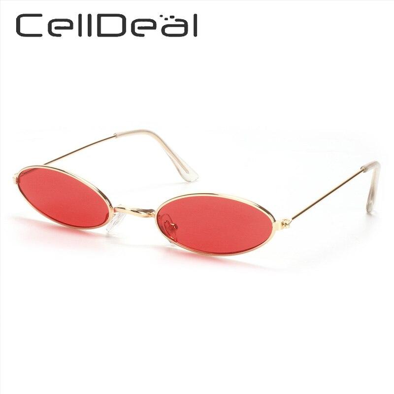 Gafas de sol ovaladas con montura pequeña para mujer, Retro Vintage montura de Metal, lentes de protección UV, accesorios de fiesta a la moda, Unisex, 11 colores Punk