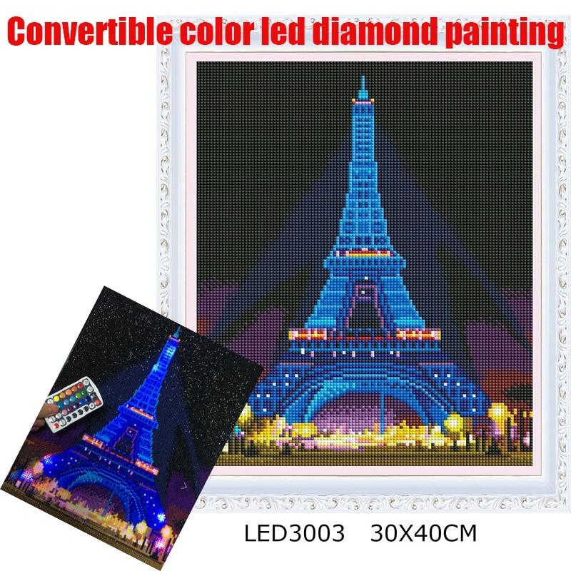 Nueva luz led de color Convertible con pintura de diamante, taladro redondo completo 5D DIY pintura de diamantes, torre de 30x40cm