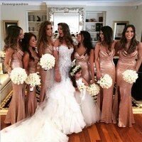 gold seuqins bridesmaid dress bling bling split long maid of honor wedding party gown plus size