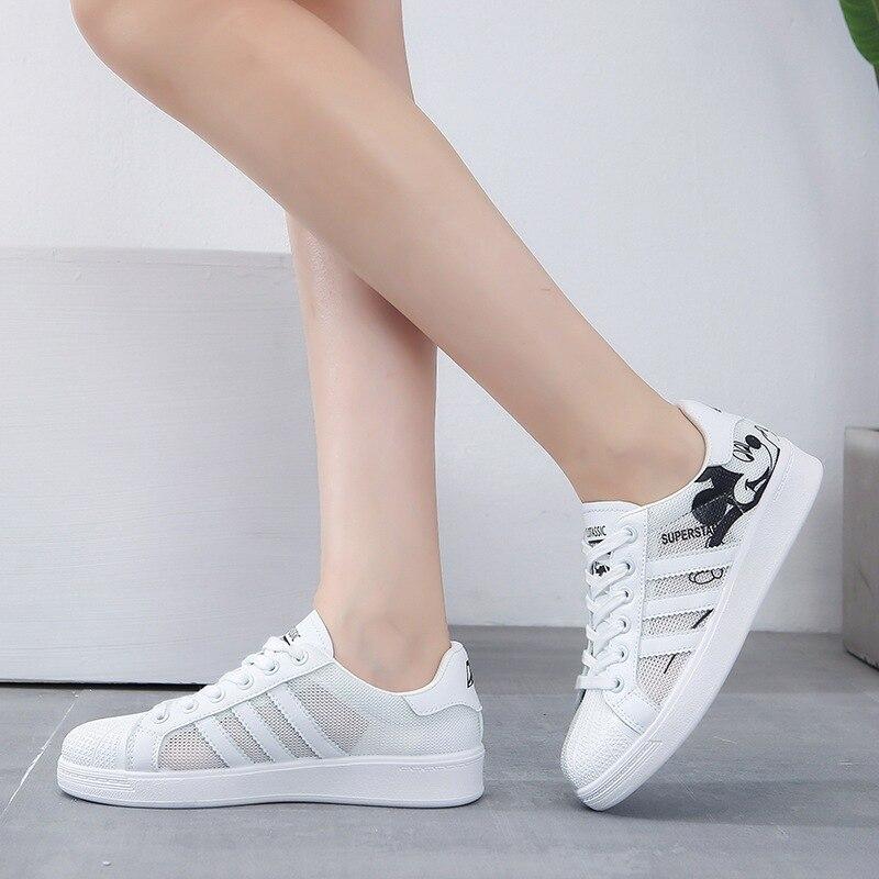 Disney dos desenhos animados mickey mouse menina sapatos casuais novo verão sapatos brancos senhoras faculdade all-match flat shell toe sneaker