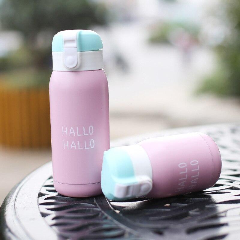 Soffe portátil al aire libre creativo termo botella 200ml revestimiento de acero inoxidable adecuado para estudiantes niños frascos de vacío