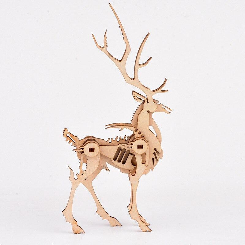 Детские самодельные креативные трехмерные деревянные животные украшения ремесла игрушки учебные пособия