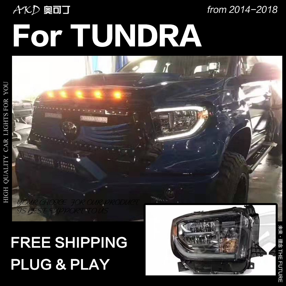 AKD, diseño de coche para Toyota Tundra, faros delanteros 2014-2018 Tundra LED, faros DRL de luz alta y baja, accesorios de linterna LED para cabeza