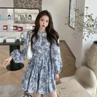 autumn dress women puff sleeve sashes retro slim popular korean style leisure simple fashion ladies all match vestido holiday