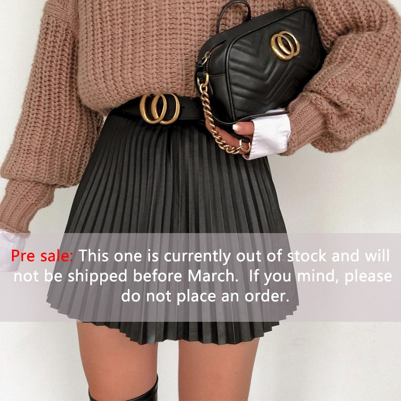 Simplee Fashion black women pleated skirt A-line high street sexy mini skirt 2020 Autumn winter high waist short skirts female