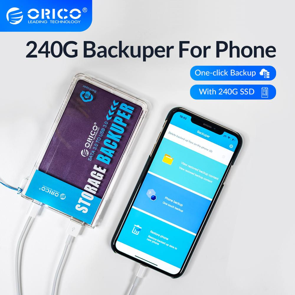 ORICO Backuper With 240G SSD Backup for Phone Data Photo Video Music Movie Ad Book Mobile Phone Backup 5Gbps SATA TO USB C Port