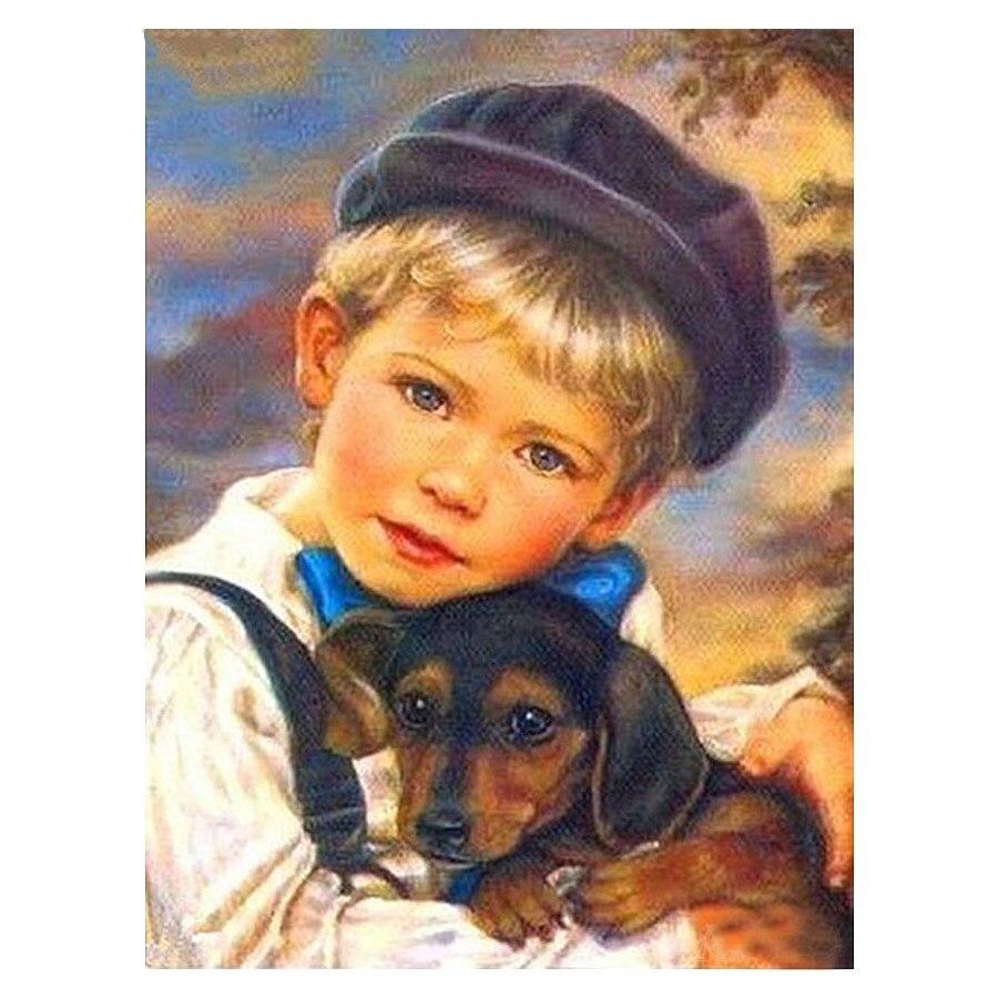 DIY bordado de diamantes Little boy and pet dog cuadro de mosaico pintura de diamantes de imitación imagen pegada Kits de punto de cruz