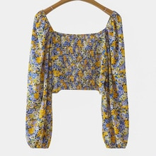 Western Style Women's Clothing Autumn Fashionable Floral Bow Knotted Shirt Pastoral Short Blouse Lad