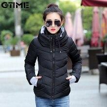2021 Winter Jacket women Short Parkas Thicken Outerwear solid hooded Coats Zipper Female Slim Cotton