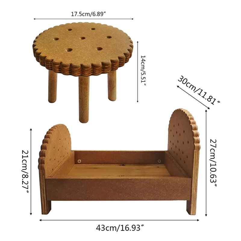 2 Pcs Newborn Detachable Posing Mini Bed Bedside Table Set Baby Photo Shooting Handmade Wooden Cookie Crib Desk Kit