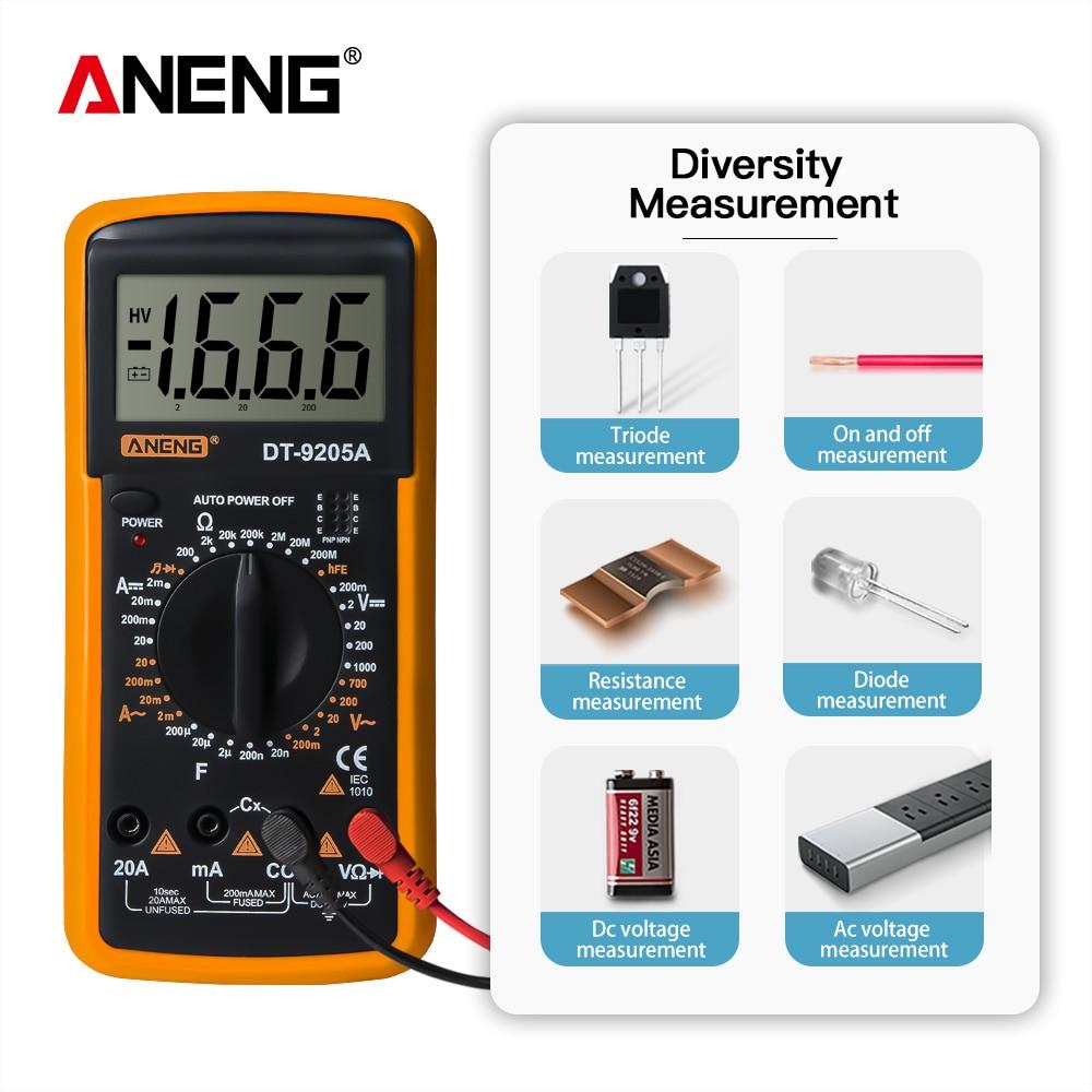 Multímetro Digital DT9205A, probador de transistores CA/CC, medidor de prueba eléctrico esr...