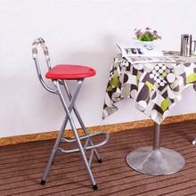 High Leg Stools with Back Folding Balcony Stool Bar Stool Portable Front Desk Chair bearing 90kg,W