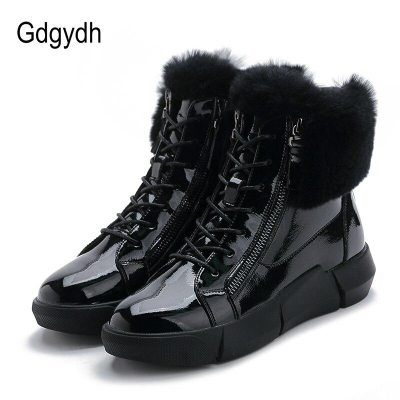 Gdgydh, botas de invierno para mujer, botas de nieve hechas a mano de cuero genuino, zapatos de mujer gruesos, aumentados, cálidos, cómodos, planos informales