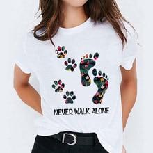Mujeres Linda garra de perro flor Floral dibujos animados señoras tapas gráfico mujeres camisetas blusas femeninas señora camiseta Harajuku camisetas