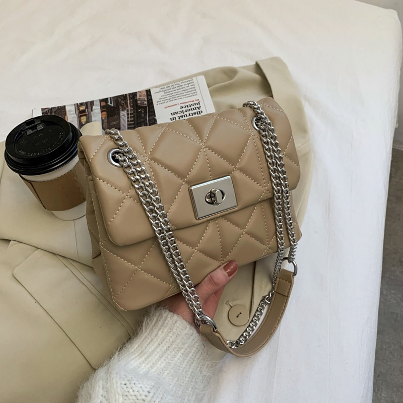 in the spring of 2018 new wings and big bag leather handbag 2021 Spring and Autumn New Lattice Square Crossbody Bag Fashion High-quality PU Leather Women's Designer Handbag Chain Shoulder