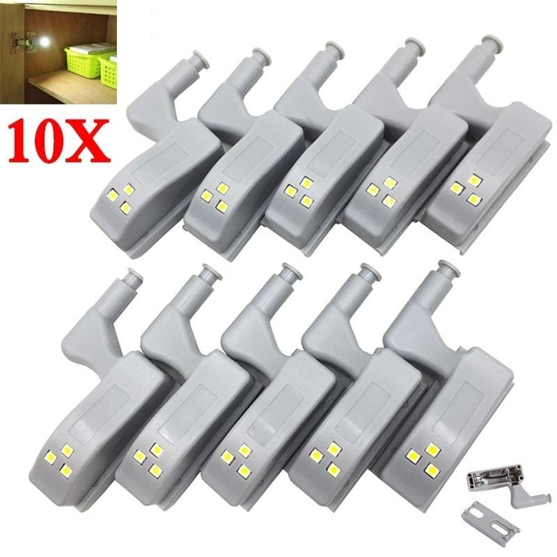 10pcs LED Inner Hinge Lamp Under Cabinet Lights Universal Wardrobe Cupboard Sensor Lights for Bedroom Kitchen Closet Night Lamp
