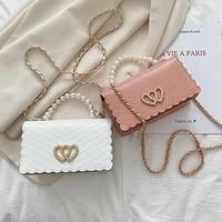 fashion pearl handle messenger bag women pu leather elegant love heart small square shoulder crossbody handbag for women 2021