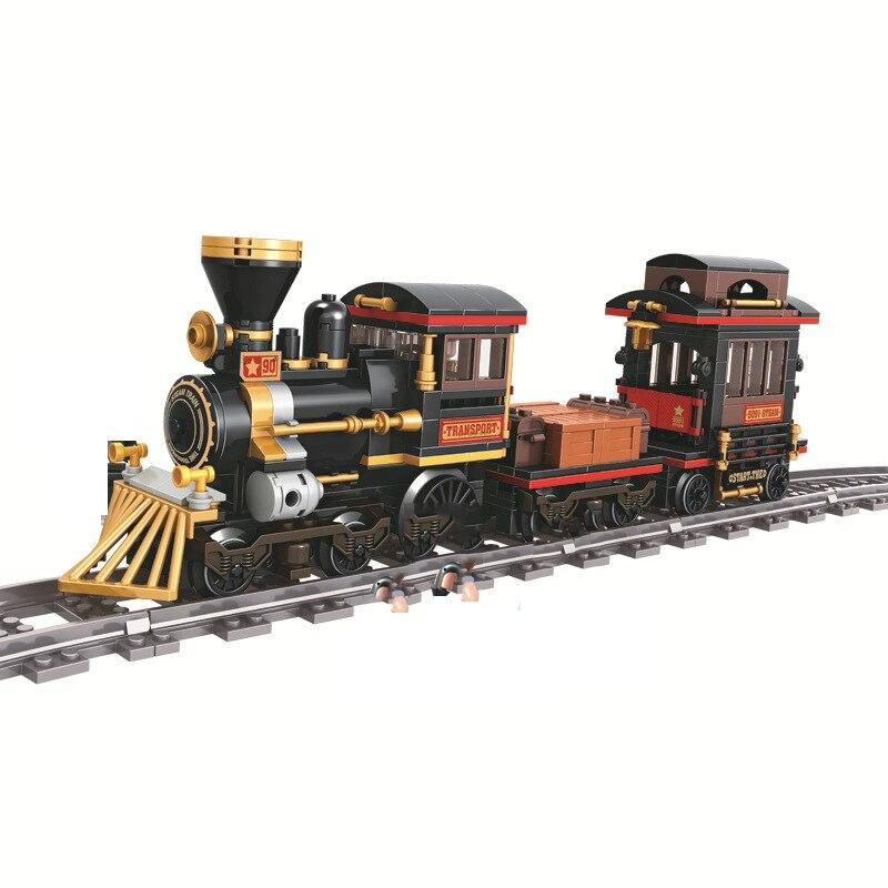 Clásico tren de vapor de 473 + Uds técnica de construcción de iluminar carril ladrillos para los niños Compatible con todas las marcas de regalo de Navidad