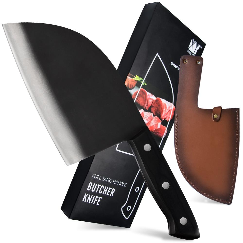 Xyj 7 بوصة الفولاذ المقاوم للصدأ مزورة سكين الجزار يرتدون الصلب سكين المطبخ الخشب مقبض كامل تانغ الساطور مع سكين غمد الحافظة